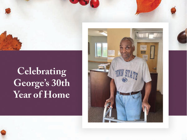 Photo of resident George celebrating 30 years of Home