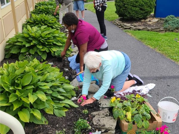 residents planting flowers